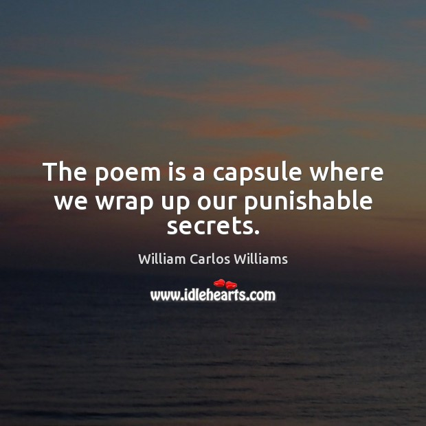 The poem is a capsule where we wrap up our punishable secrets. William Carlos Williams Picture Quote