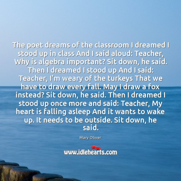 The poet dreams of the classroom I dreamed I stood up in Mary Oliver Picture Quote
