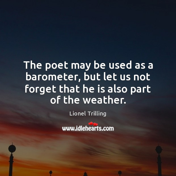 Image, The poet may be used as a barometer, but let us not