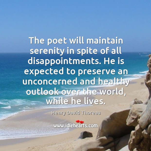 The poet will maintain serenity in spite of all disappointments. He is Image