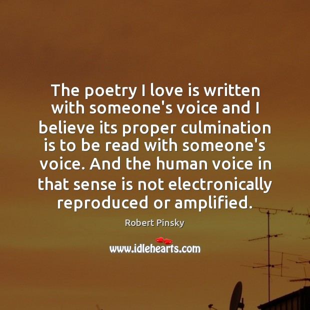 The poetry I love is written with someone's voice and I believe Image