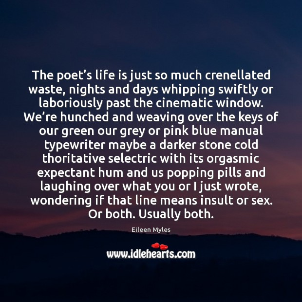 The poet's life is just so much crenellated waste, nights and Insult Quotes Image