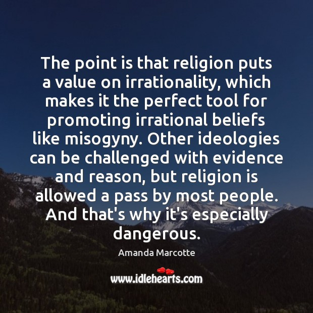 Image, The point is that religion puts a value on irrationality, which makes