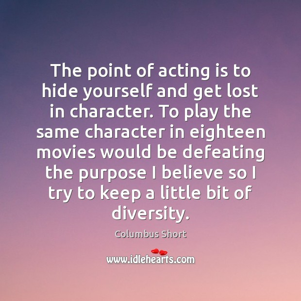 The point of acting is to hide yourself and get lost in Acting Quotes Image