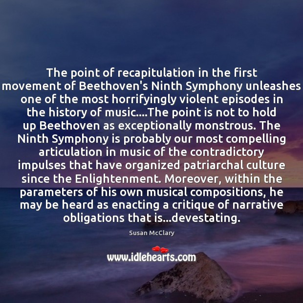 The point of recapitulation in the first movement of Beethoven's Ninth Symphony Image