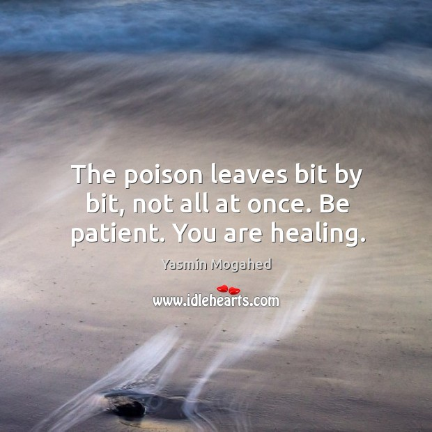 The poison leaves bit by bit, not all at once. Be patient. You are healing. Image