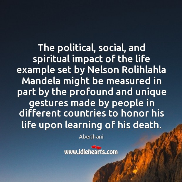 The political, social, and spiritual impact of the life example set by Image