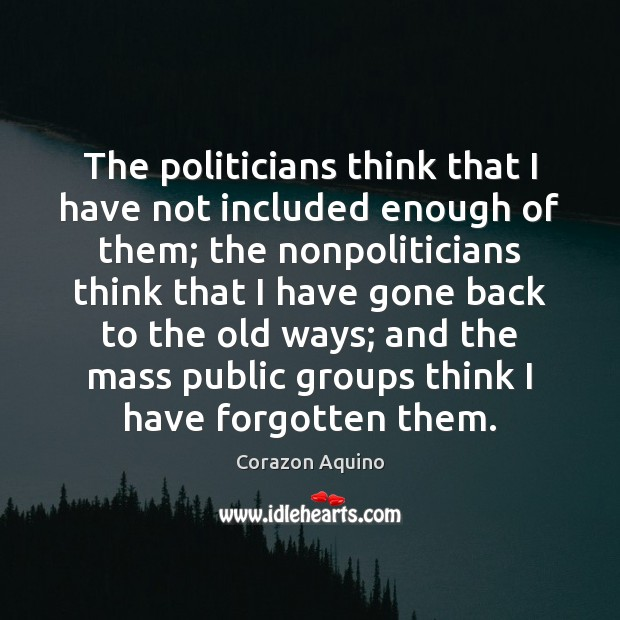 The politicians think that I have not included enough of them; the Image