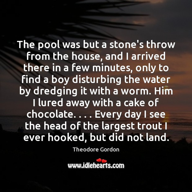 The pool was but a stone's throw from the house, and I Theodore Gordon Picture Quote