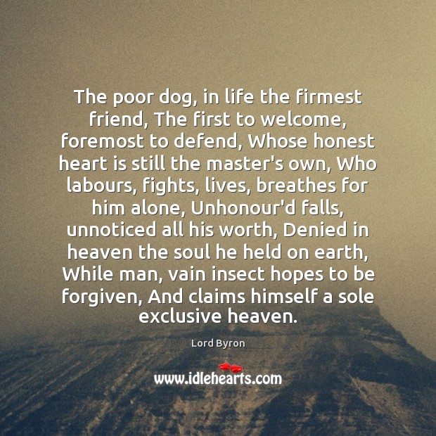 The poor dog, in life the firmest friend, The first to welcome, Image