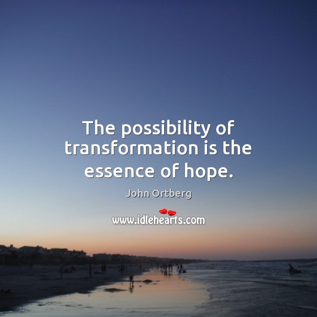 The possibility of transformation is the essence of hope. John Ortberg Picture Quote