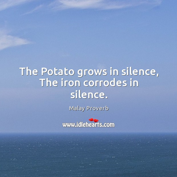 The potato grows in silence, the iron corrodes in silence. Malay Proverbs Image