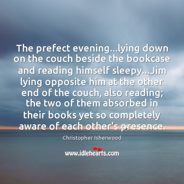 The prefect evening…lying down on the couch beside the bookcase and Image