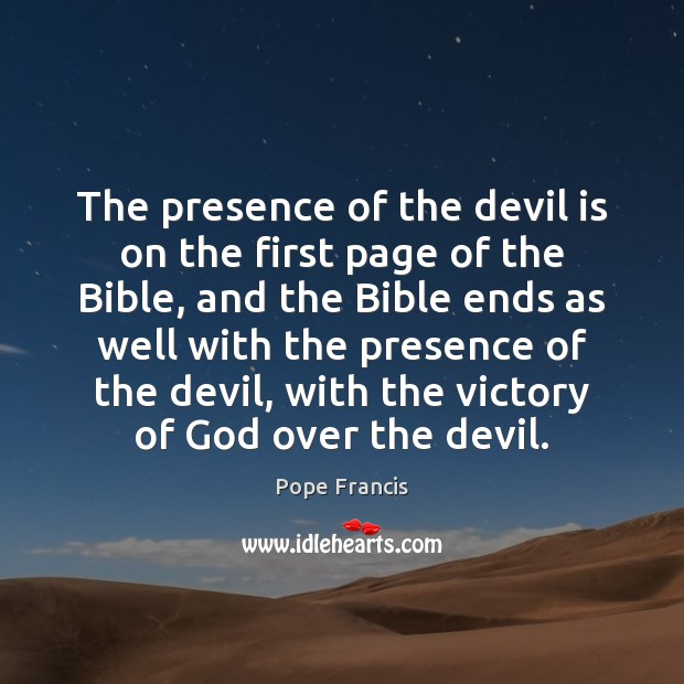 The presence of the devil is on the first page of the Image