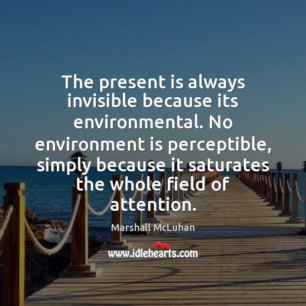 Image, The present is always invisible because its environmental. No environment is perceptible,