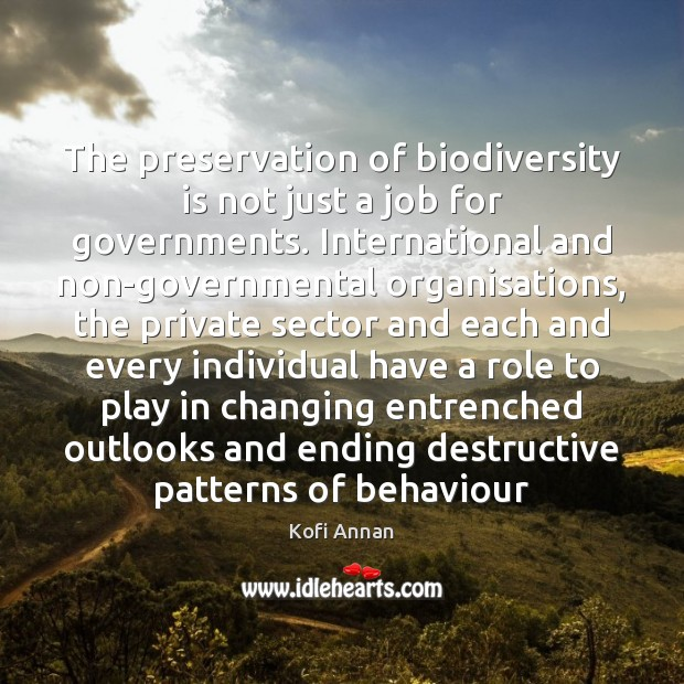 The preservation of biodiversity is not just a job for governments. International Kofi Annan Picture Quote