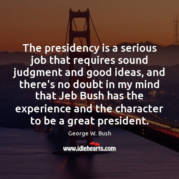 Image, The presidency is a serious job that requires sound judgment and good