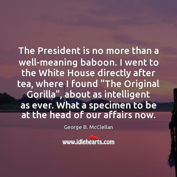 The President is no more than a well-meaning baboon. I went to George B. McClellan Picture Quote