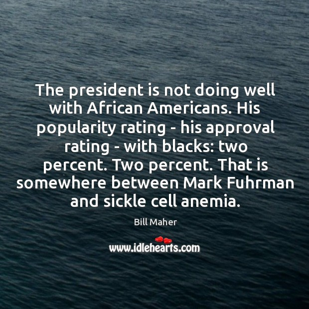 Image, The president is not doing well with African Americans. His popularity rating