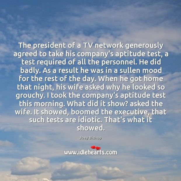 The president of a TV network generously agreed to take his company's Image
