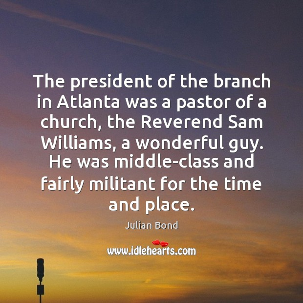 Image, The president of the branch in Atlanta was a pastor of a