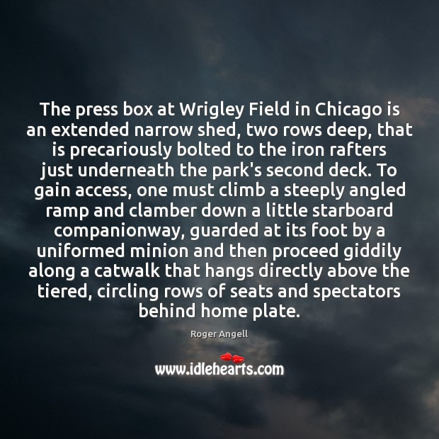 Image, The press box at Wrigley Field in Chicago is an extended narrow