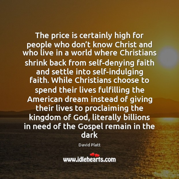 The price is certainly high for people who don't know Christ Image