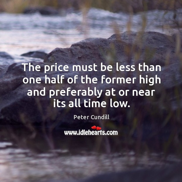 Image, The price must be less than one half of the former high