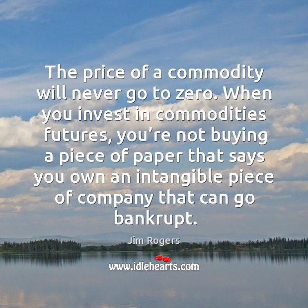 The price of a commodity will never go to zero. When you invest in commodities futures Jim Rogers Picture Quote