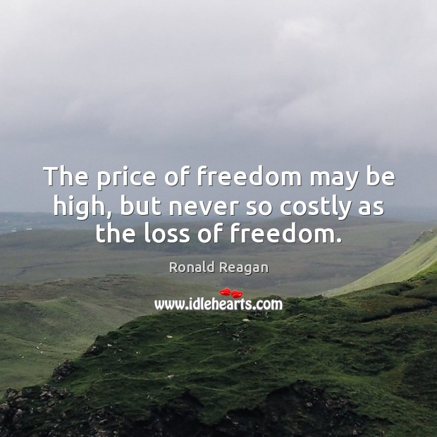 Image, The price of freedom may be high, but never so costly as the loss of freedom.
