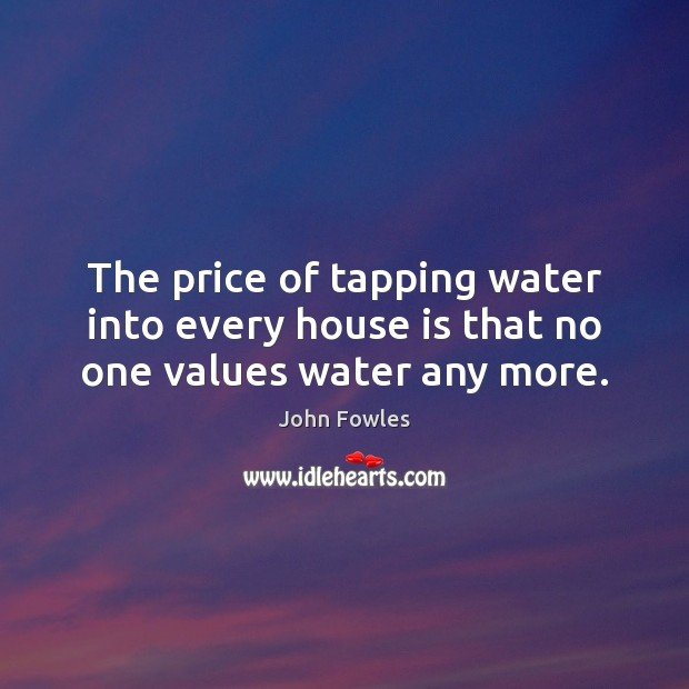 The price of tapping water into every house is that no one values water any more. Image