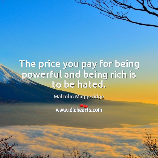 The price you pay for being powerful and being rich is to be hated. Price You Pay Quotes Image