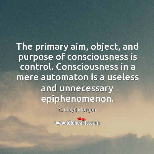 The primary aim, object, and purpose of consciousness is control. Consciousness in Image