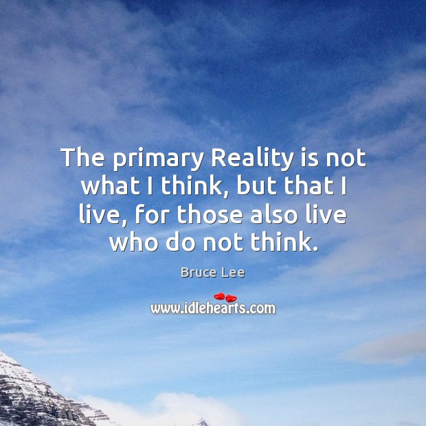 The primary Reality is not what I think, but that I live, Image