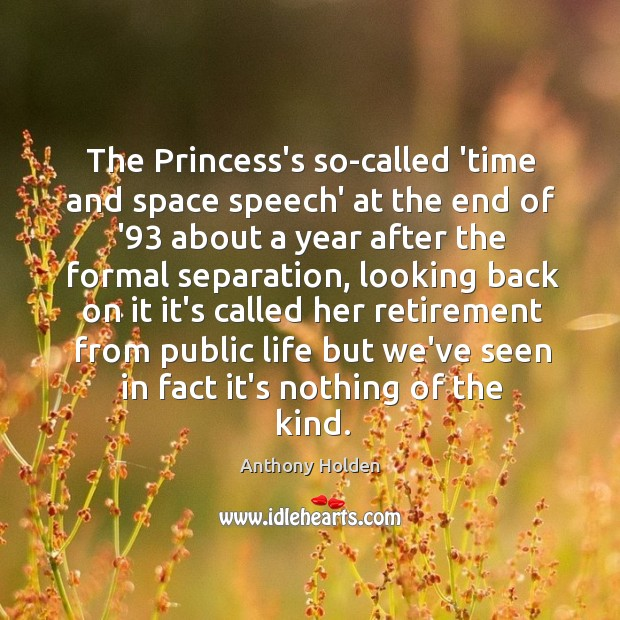 Image, The Princess's so-called 'time and space speech' at the end of '93