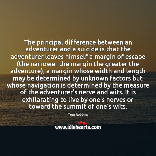 The principal difference between an adventurer and a suicide is that the Image