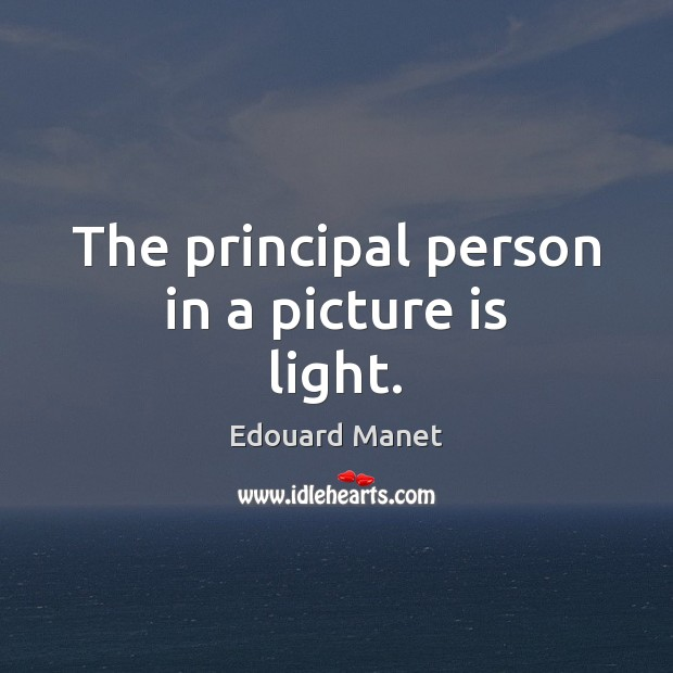 The principal person in a picture is light. Image