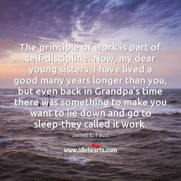 The principle of work is part of self-discipline. Now, my dear young James E. Faust Picture Quote