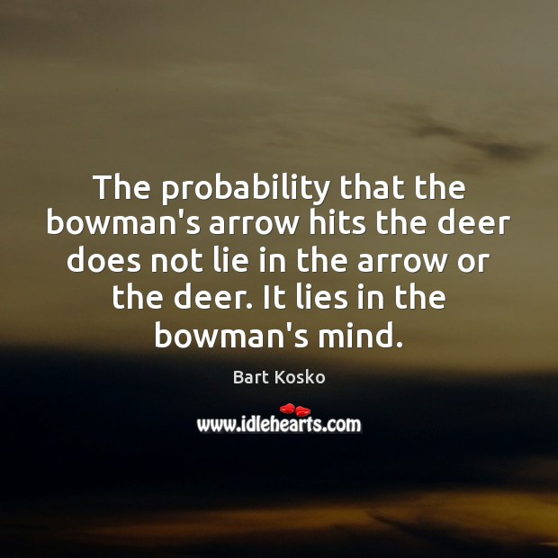 Image, The probability that the bowman's arrow hits the deer does not lie