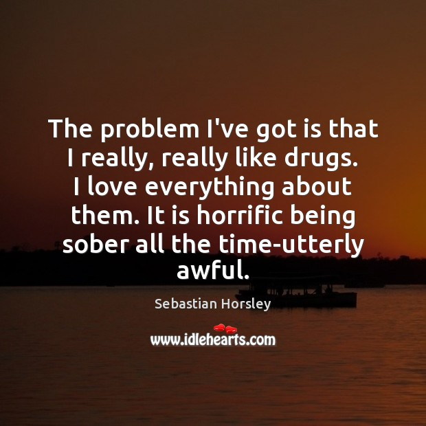 The problem I've got is that I really, really like drugs. I Sebastian Horsley Picture Quote