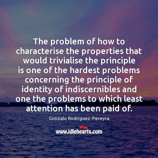 The problem of how to characterise the properties that would trivialise the Gonzalo Rodriguez-Pereyra Picture Quote