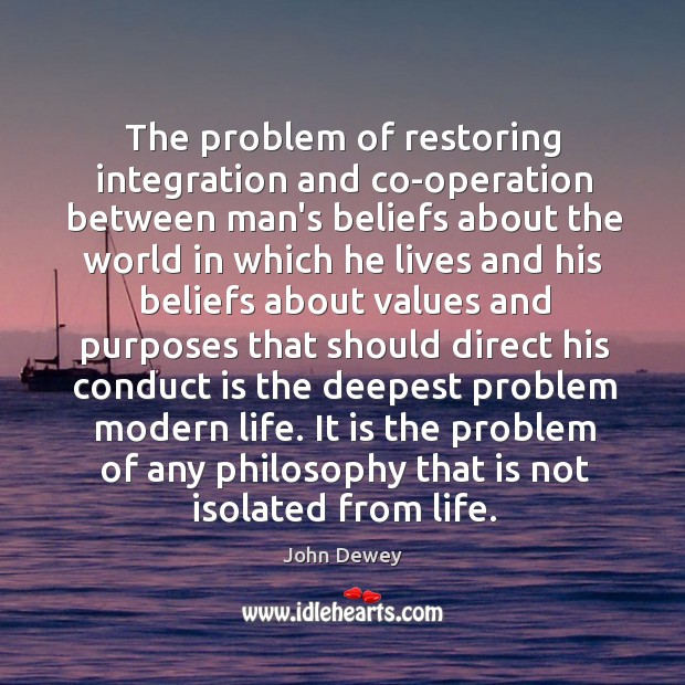 The problem of restoring integration and co-operation between man's beliefs about the Image