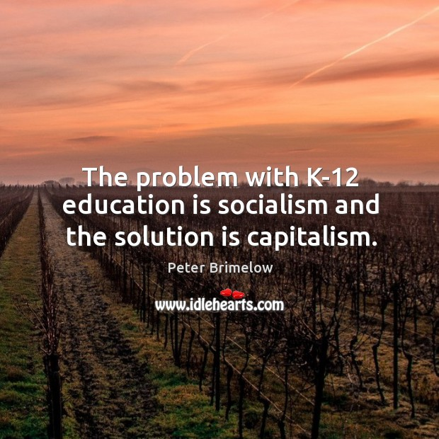 Image, The problem with k-12 education is socialism and the solution is capitalism.