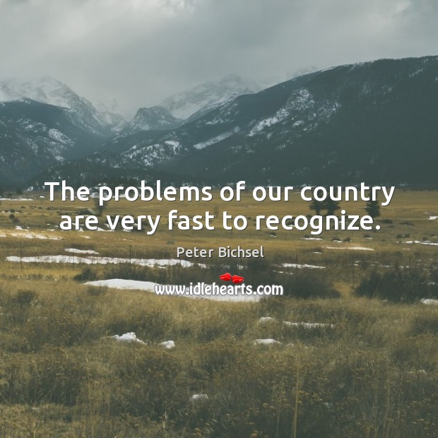 The problems of our country are very fast to recognize. Peter Bichsel Picture Quote