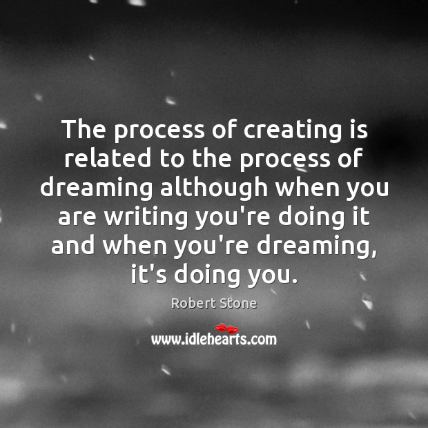 The process of creating is related to the process of dreaming although Image