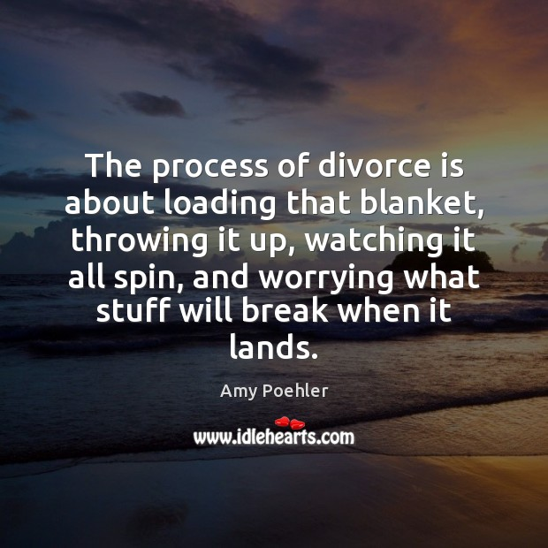 Image, The process of divorce is about loading that blanket, throwing it up,