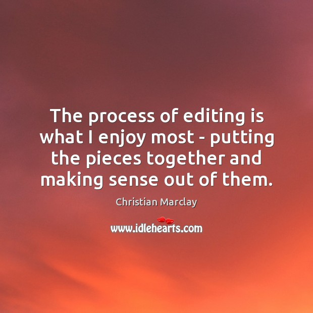 The process of editing is what I enjoy most – putting the Image