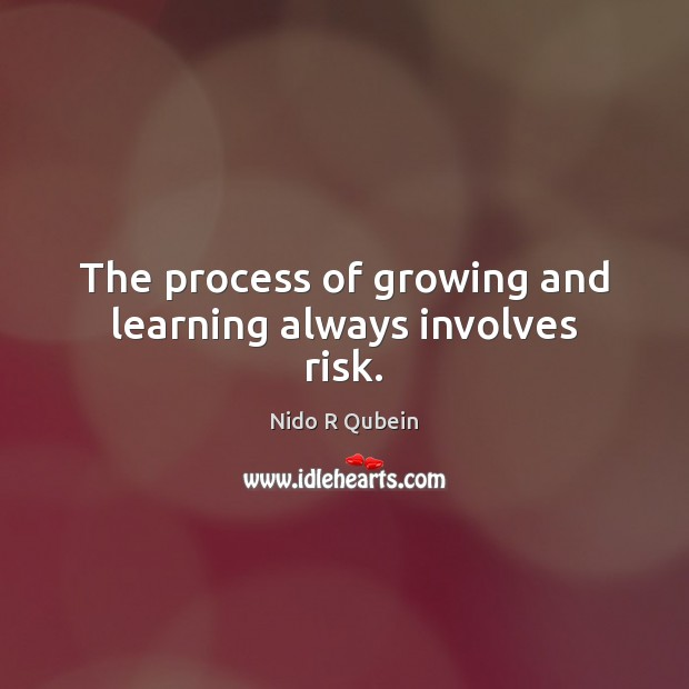 The process of growing and learning always involves risk. Nido R Qubein Picture Quote
