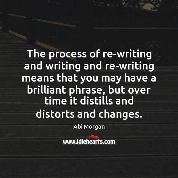 Image, The process of re-writing and writing and re-writing means that you may
