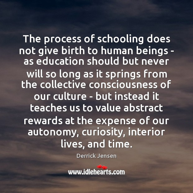 Image, The process of schooling does not give birth to human beings –